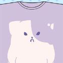 きのこいぬ Tシャツ/プラム