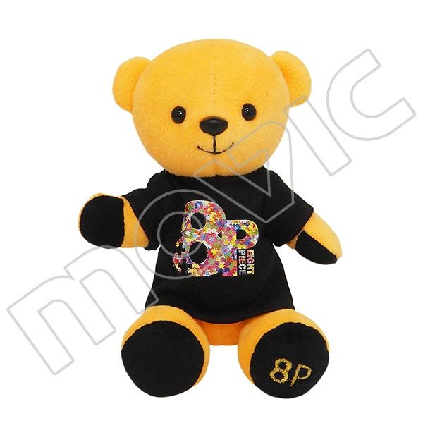 くまめいと 8P(エイトピース) 「8P」×くまめいとぬいぐるみマスコット 「8P」フラワーTシャツ黒Ver.
