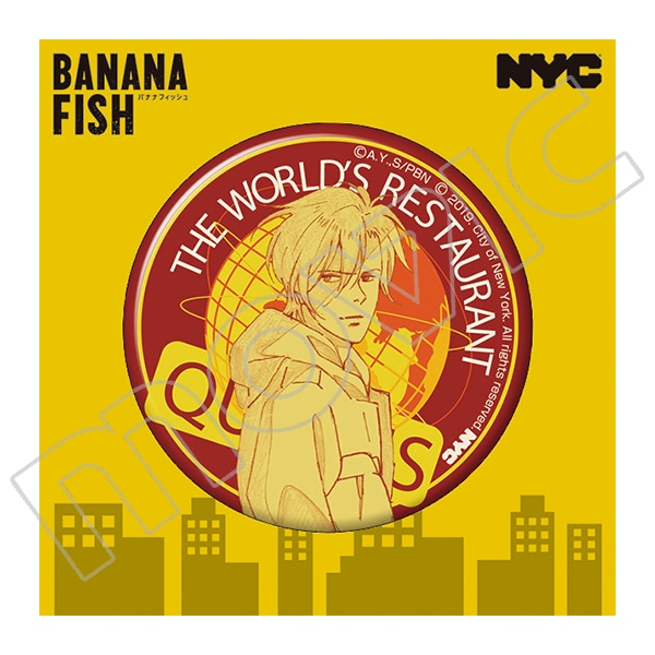 BANANA FISH 缶バッジ NYC QUEENS World's Restaurant