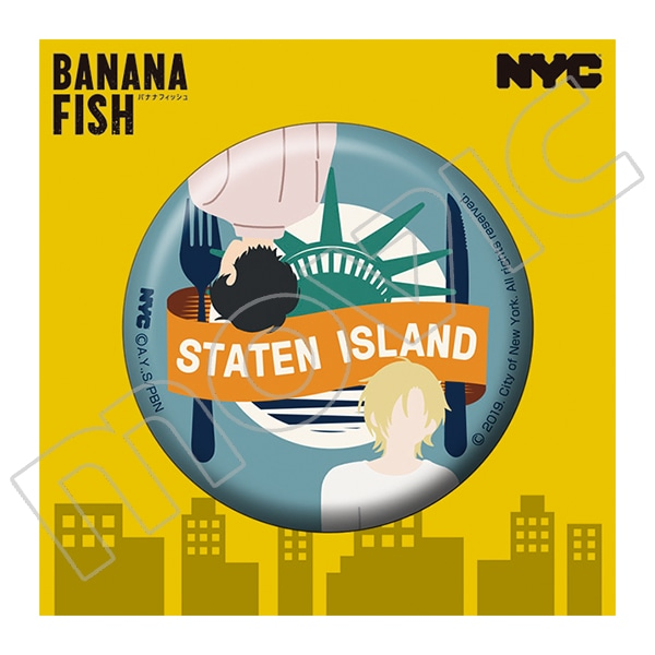 BANANA FISH 缶バッジ NYC STATEN ISLAND Liberty Plate