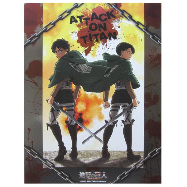 進撃の巨人 ミニメタルポスター/エレン&リヴァイ